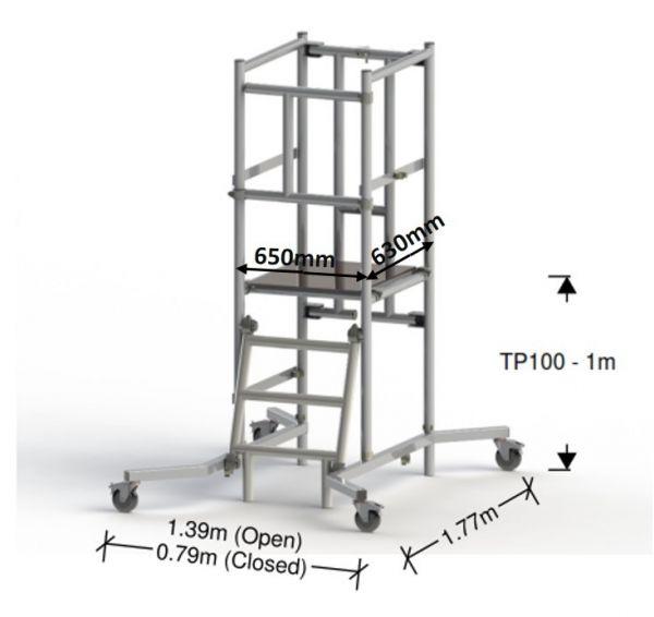 Plataforma de aluminio TP100 1 m (3 m altura de trabajo)